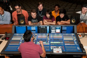 AJ Teaching Students about Mixing Board