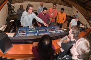 Marius showing students mixing board